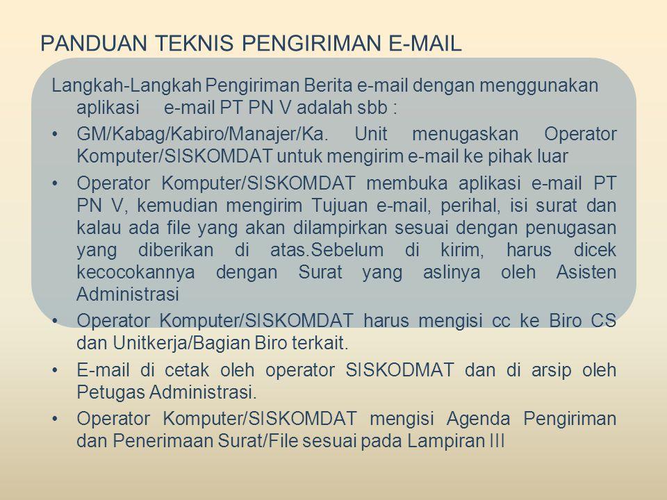 PANDUAN TEKNIS PENGIRIMAN E-MAIL