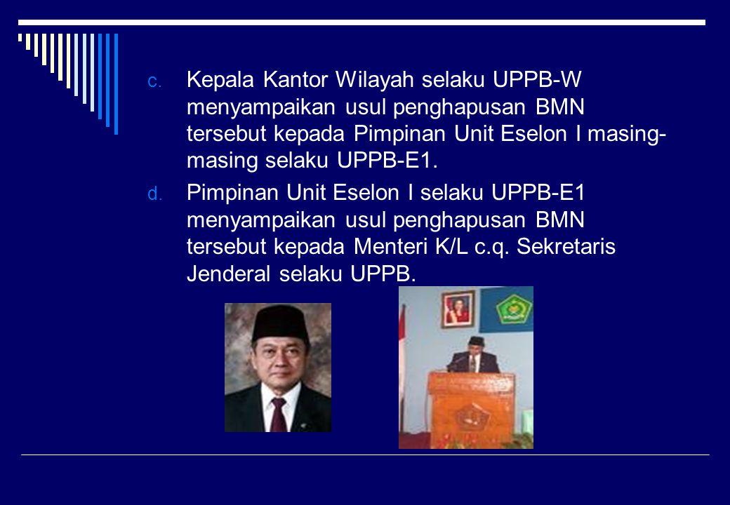 Kepala Kantor Wilayah selaku UPPB-W menyampaikan usul penghapusan BMN tersebut kepada Pimpinan Unit Eselon I masing-masing selaku UPPB-E1.