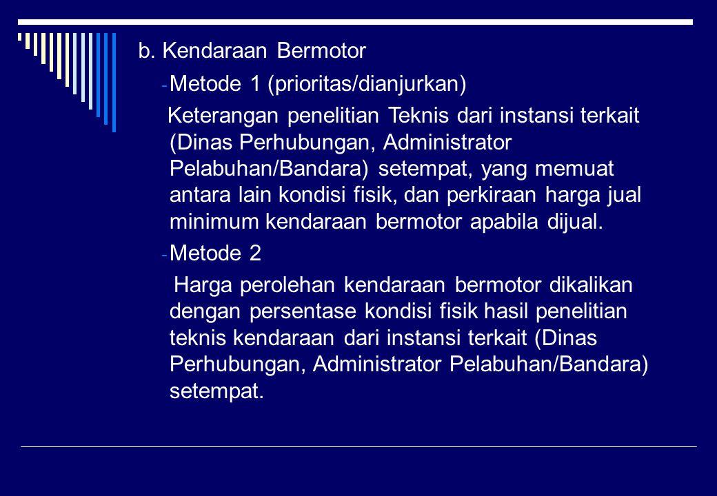 b. Kendaraan Bermotor Metode 1 (prioritas/dianjurkan)