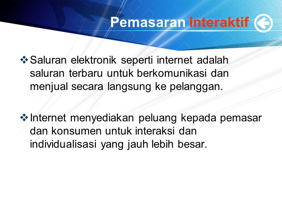 Pemasaran Interaktif Saluran elektronik seperti internet adalah saluran terbaru untuk berkomunikasi dan menjual secara langsung ke pelanggan.