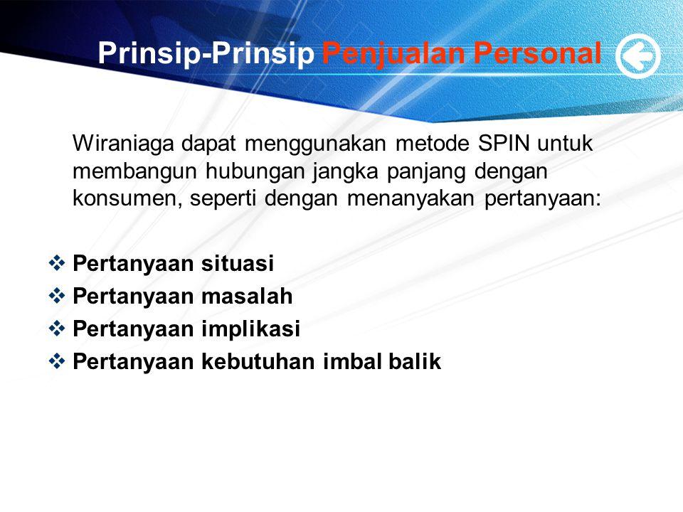 Prinsip-Prinsip Penjualan Personal