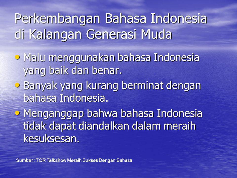 Perkembangan Bahasa Indonesia di Kalangan Generasi Muda