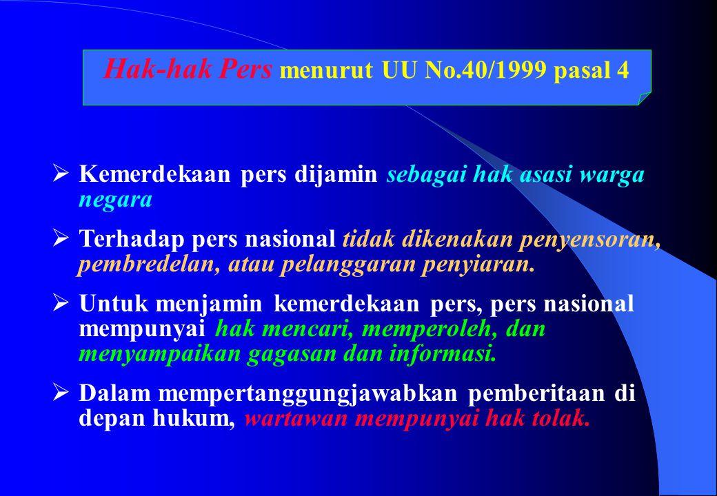 Hak-hak Pers menurut UU No.40/1999 pasal 4