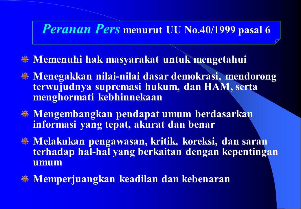 Peranan Pers menurut UU No.40/1999 pasal 6