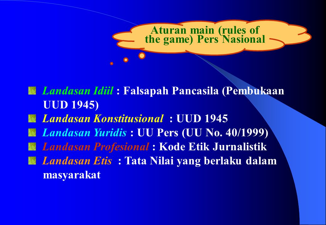 Aturan main (rules of the game) Pers Nasional