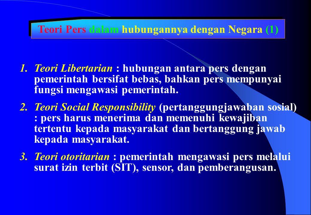 Teori Pers dalam hubungannya dengan Negara (1)