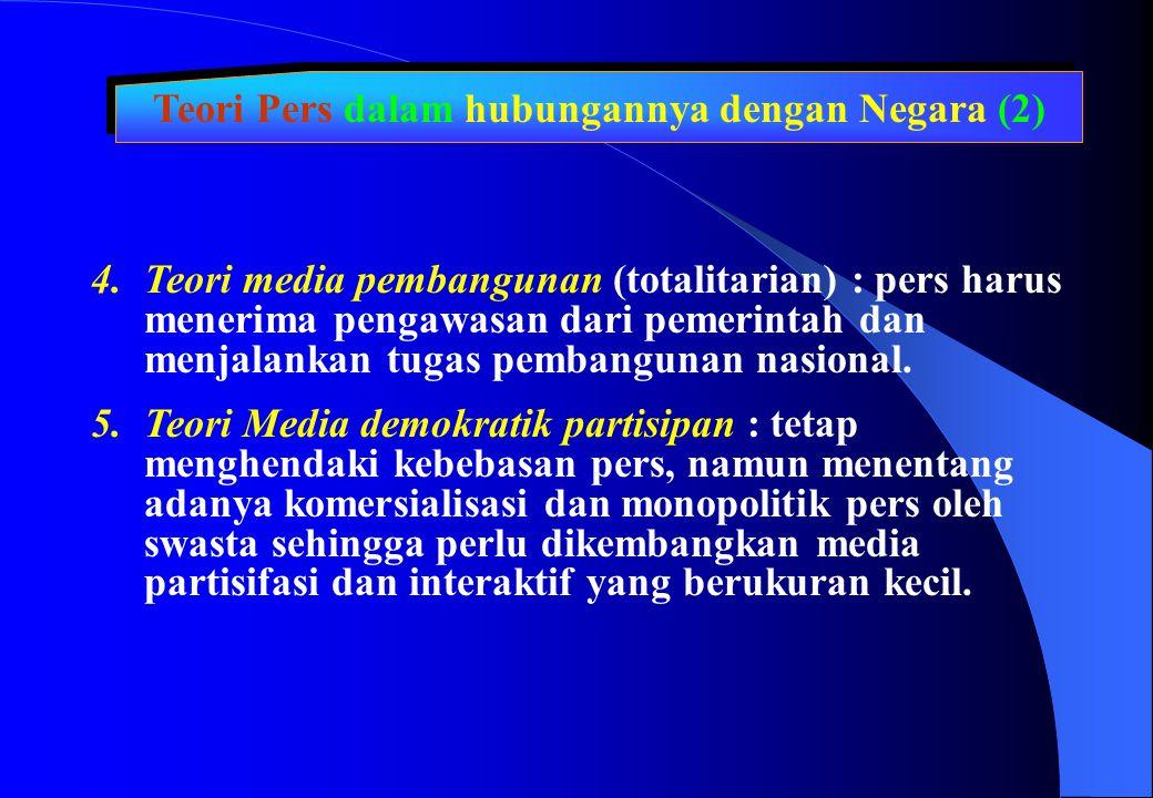 Teori Pers dalam hubungannya dengan Negara (2)