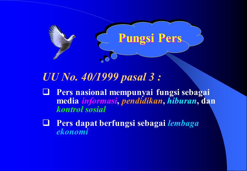 Pungsi Pers UU No. 40/1999 pasal 3 :