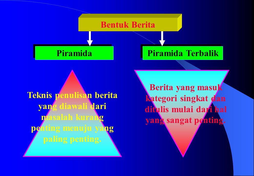 Bentuk Berita Piramida. Piramida Terbalik. Berita yang masuk kategori singkat dan ditulis mulai dari hal yang sangat penting.