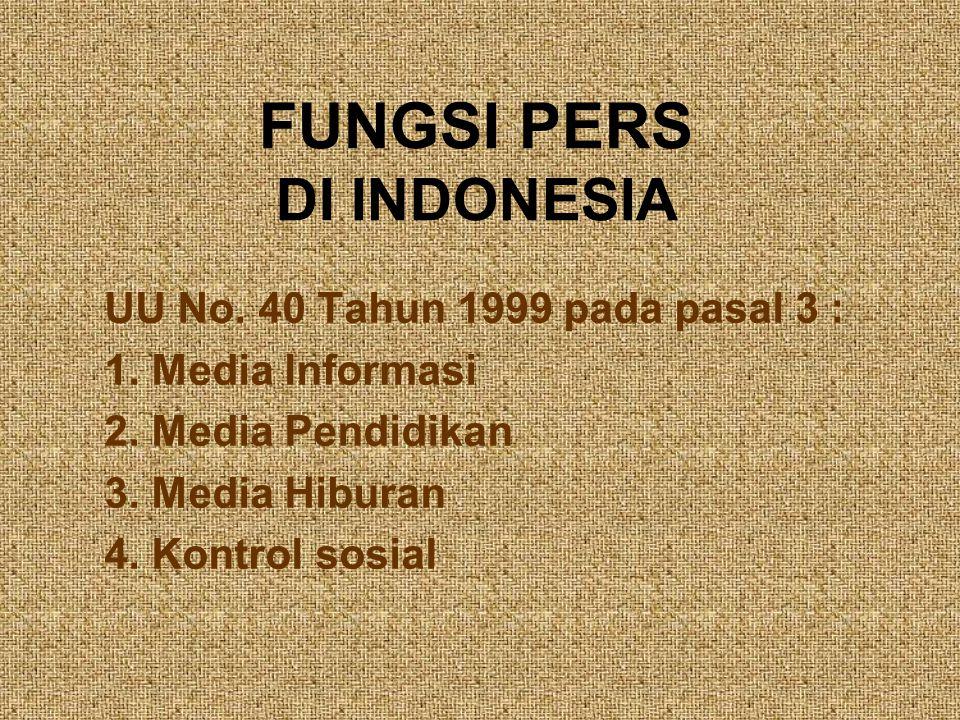 FUNGSI PERS DI INDONESIA