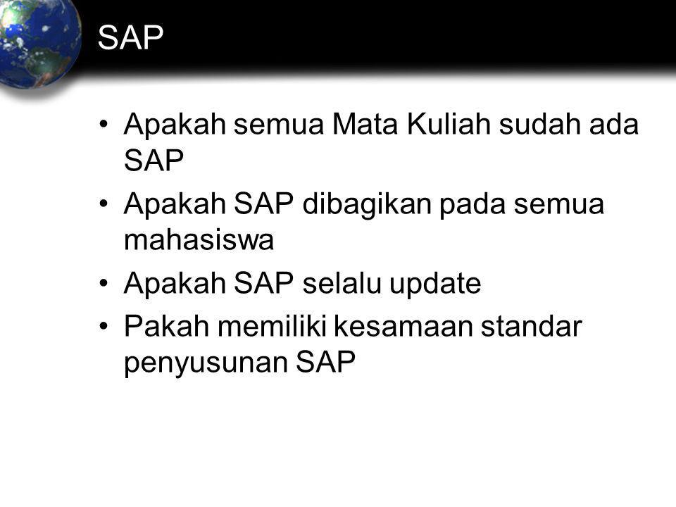 SAP Apakah semua Mata Kuliah sudah ada SAP