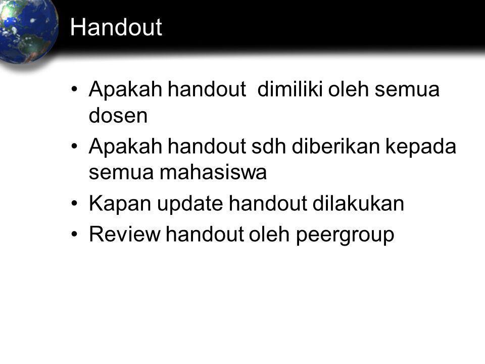 Handout Apakah handout dimiliki oleh semua dosen