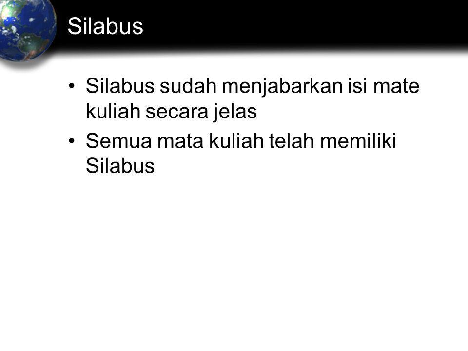 Silabus Silabus sudah menjabarkan isi mate kuliah secara jelas