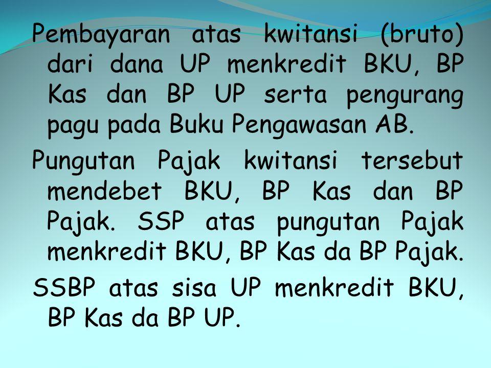 Pembayaran atas kwitansi (bruto) dari dana UP menkredit BKU, BP Kas dan BP UP serta pengurang pagu pada Buku Pengawasan AB.