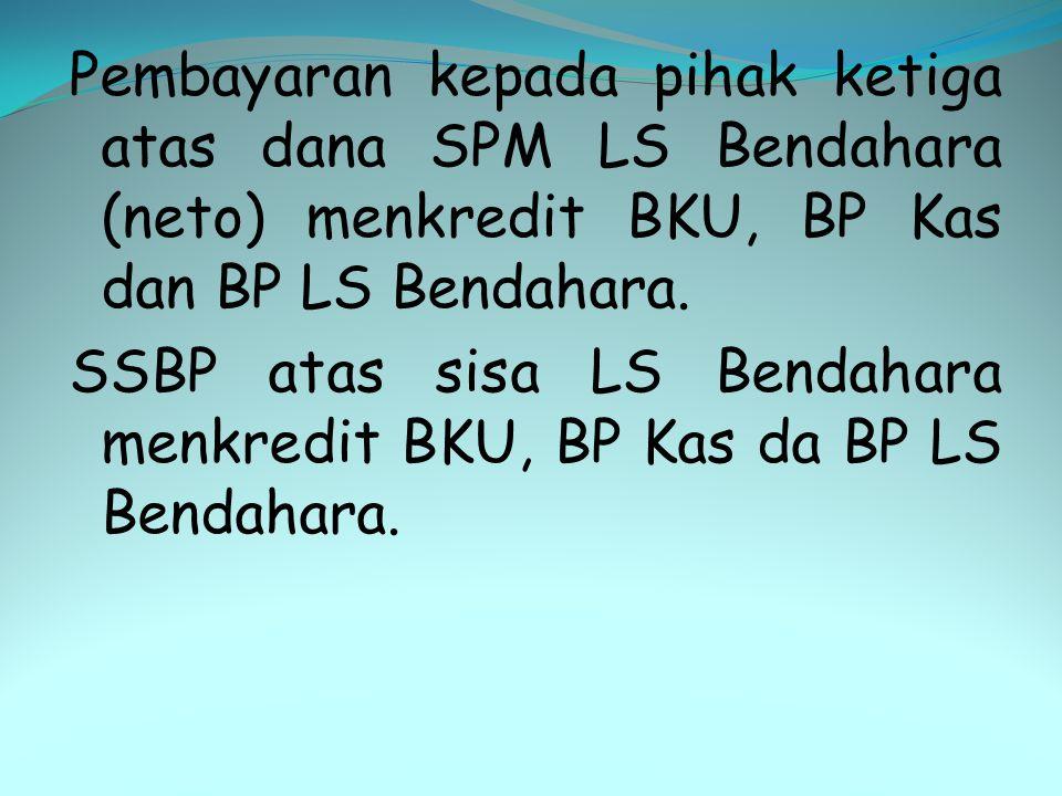 Pembayaran kepada pihak ketiga atas dana SPM LS Bendahara (neto) menkredit BKU, BP Kas dan BP LS Bendahara.