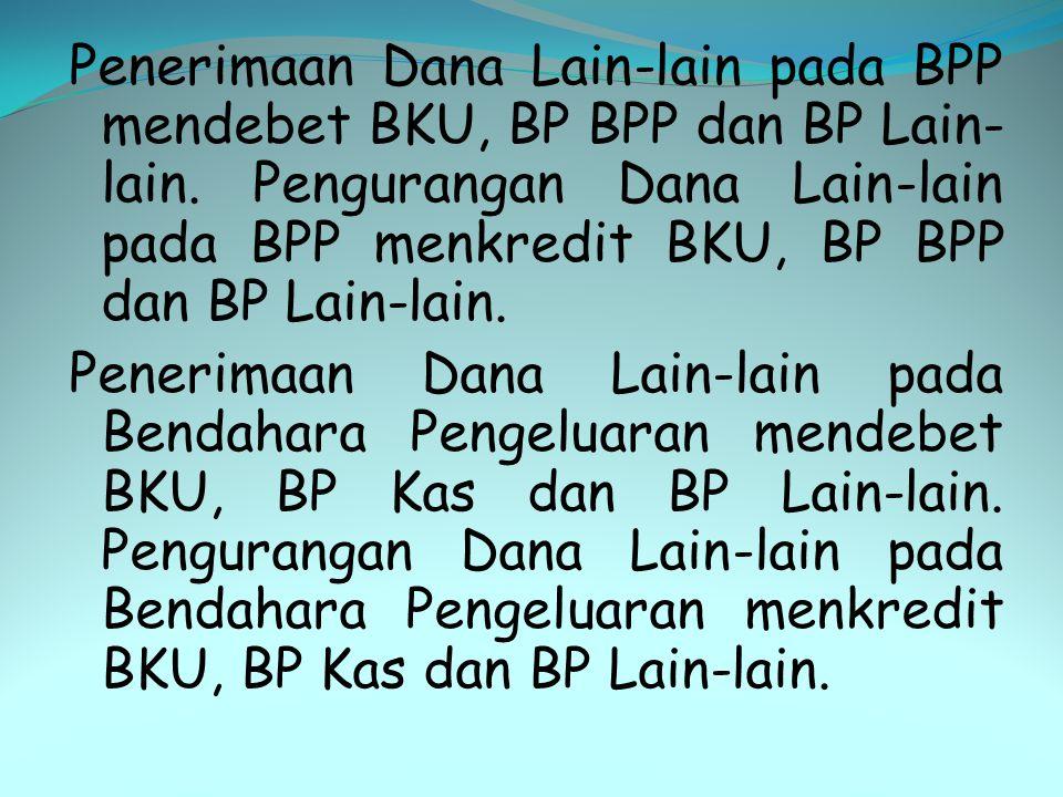 Penerimaan Dana Lain-lain pada BPP mendebet BKU, BP BPP dan BP Lain-lain.