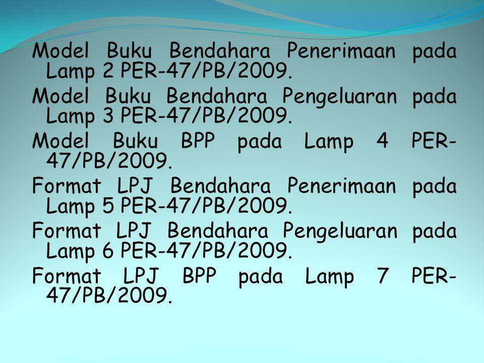 Model Buku Bendahara Penerimaan pada Lamp 2 PER-47/PB/2009