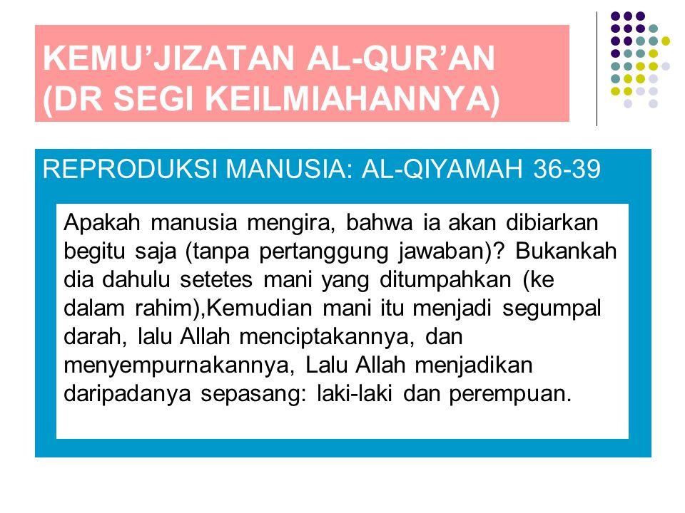 KEMU'JIZATAN AL-QUR'AN (DR SEGI KEILMIAHANNYA)
