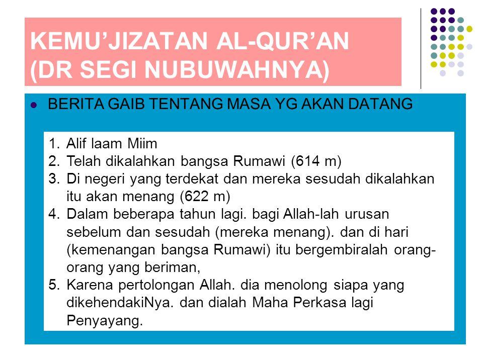 KEMU'JIZATAN AL-QUR'AN (DR SEGI NUBUWAHNYA)