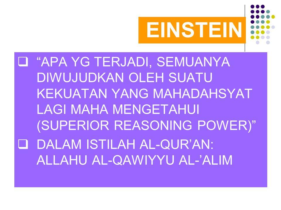 EINSTEIN APA YG TERJADI, SEMUANYA DIWUJUDKAN OLEH SUATU KEKUATAN YANG MAHADAHSYAT LAGI MAHA MENGETAHUI (SUPERIOR REASONING POWER)