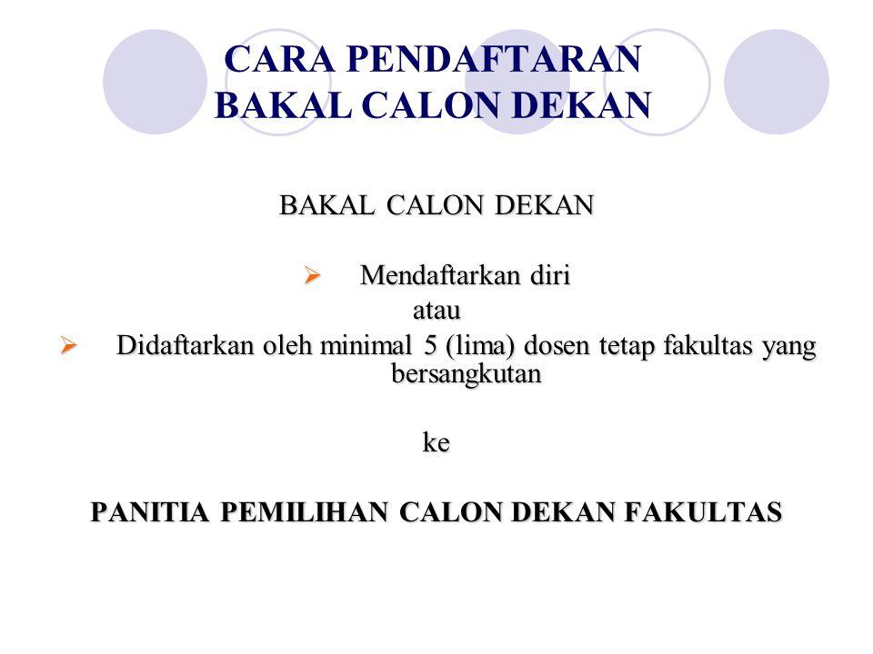 CARA PENDAFTARAN BAKAL CALON DEKAN