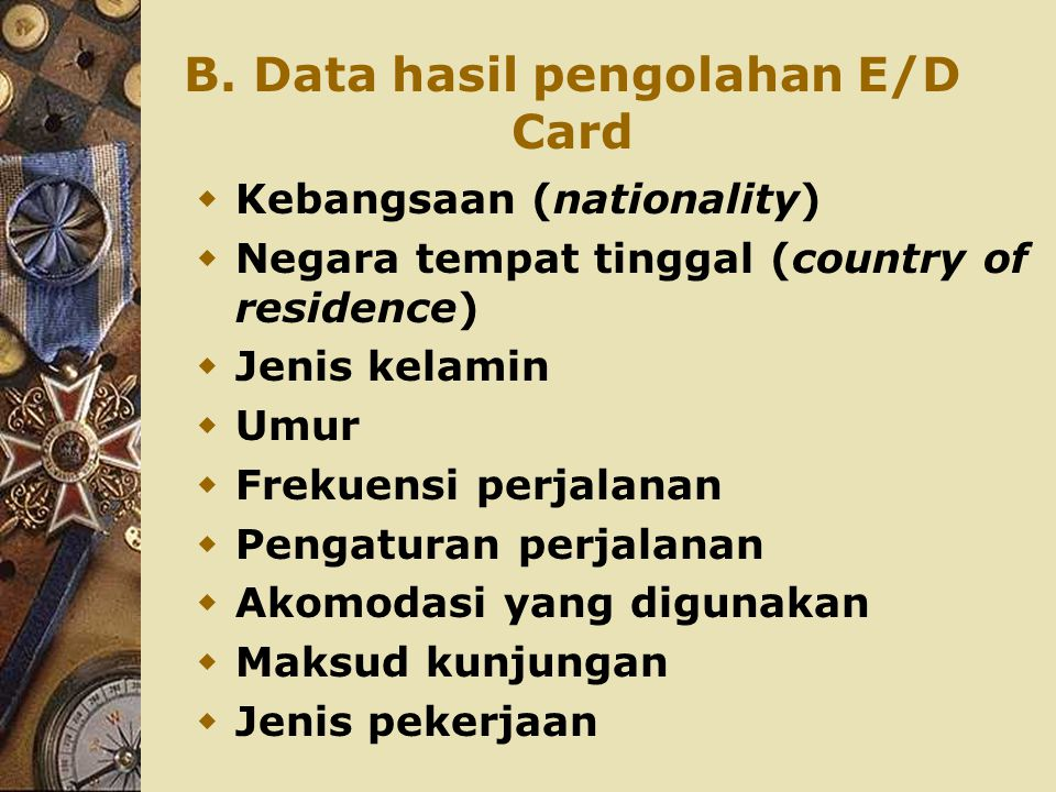 B. Data hasil pengolahan E/D Card