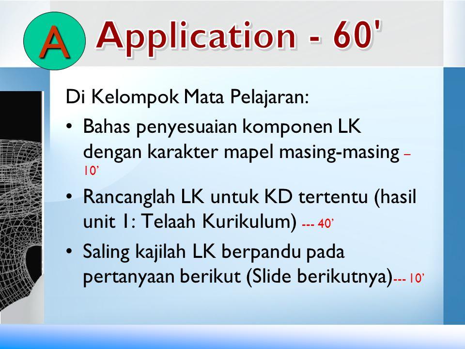A Application - 60 Di Kelompok Mata Pelajaran: