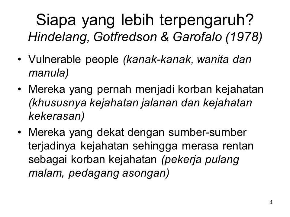 Siapa yang lebih terpengaruh Hindelang, Gotfredson & Garofalo (1978)