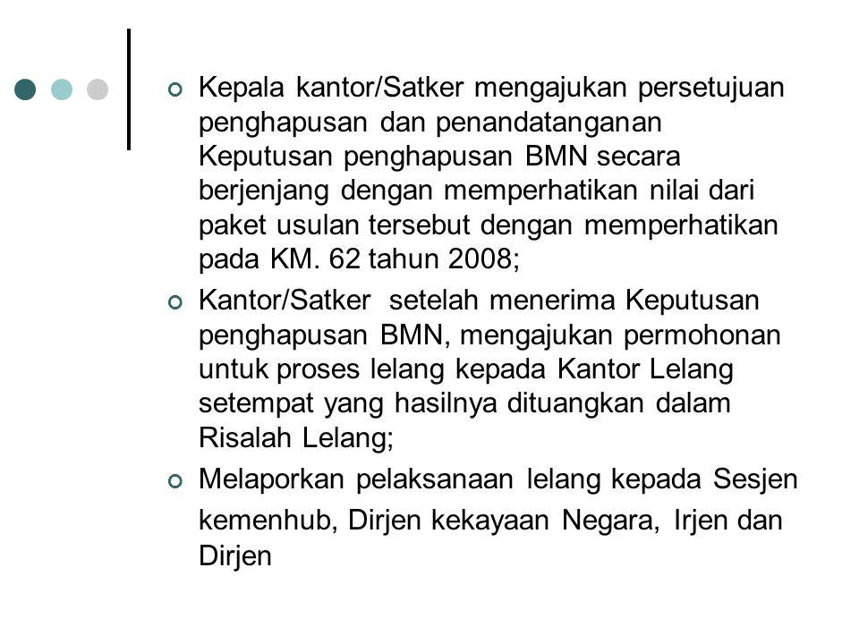 Kepala kantor/Satker mengajukan persetujuan penghapusan dan penandatanganan Keputusan penghapusan BMN secara berjenjang dengan memperhatikan nilai dari paket usulan tersebut dengan memperhatikan pada KM. 62 tahun 2008;