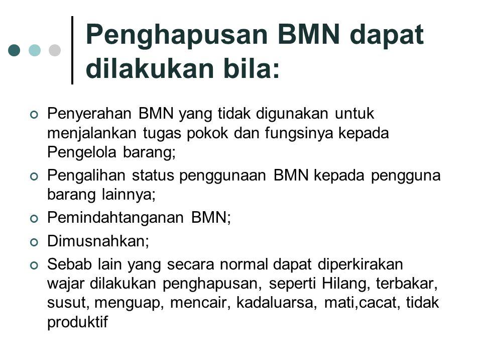 Penghapusan BMN dapat dilakukan bila: