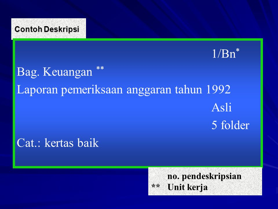 Laporan pemeriksaan anggaran tahun 1992 Asli 5 folder