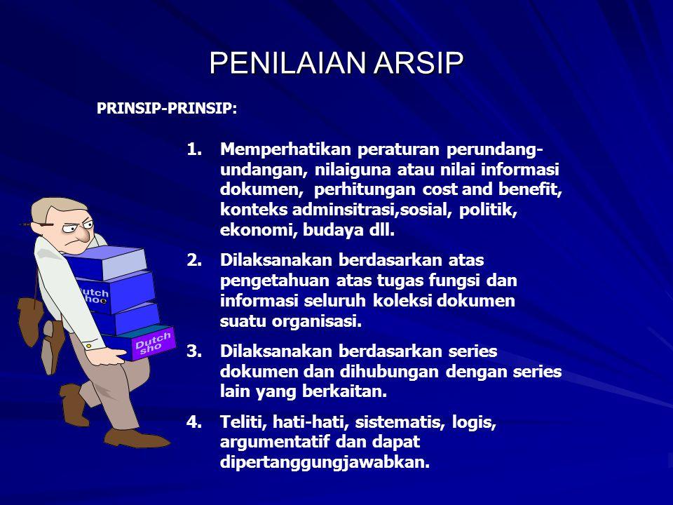 PENILAIAN ARSIP PRINSIP-PRINSIP: