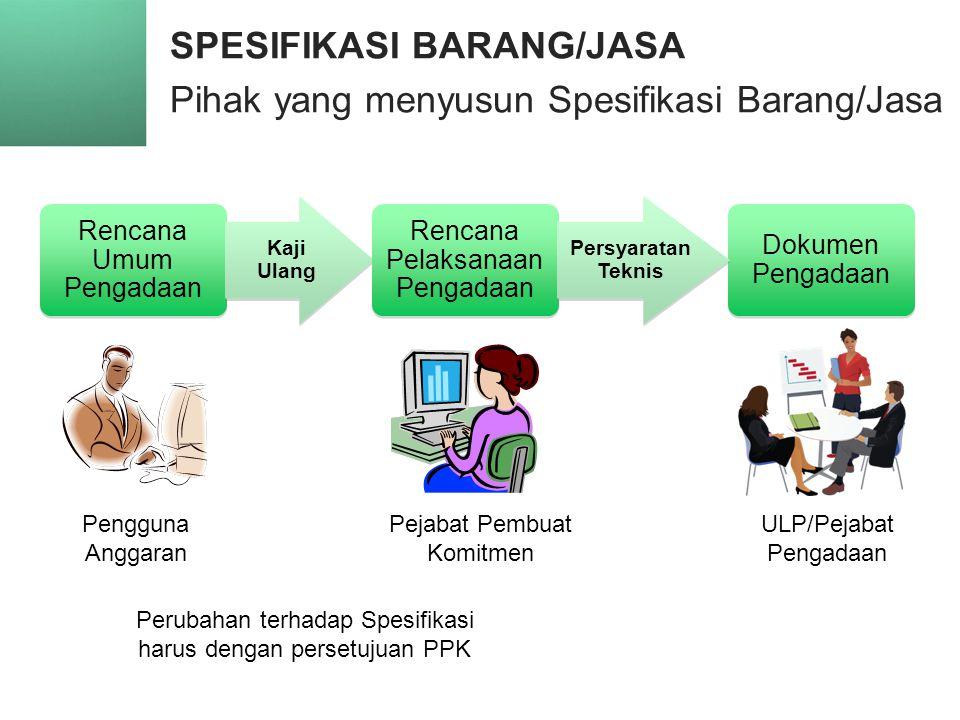 SPESIFIKASI BARANG/JASA Pihak yang menyusun Spesifikasi Barang/Jasa