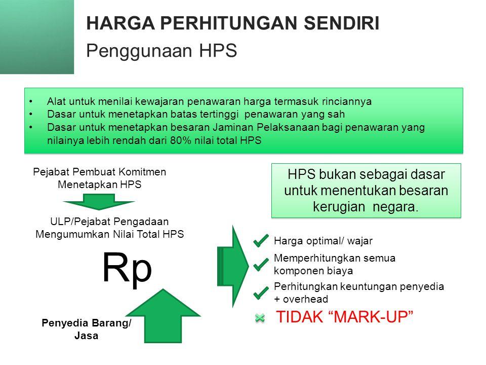 HARGA PERHITUNGAN SENDIRI Penggunaan HPS