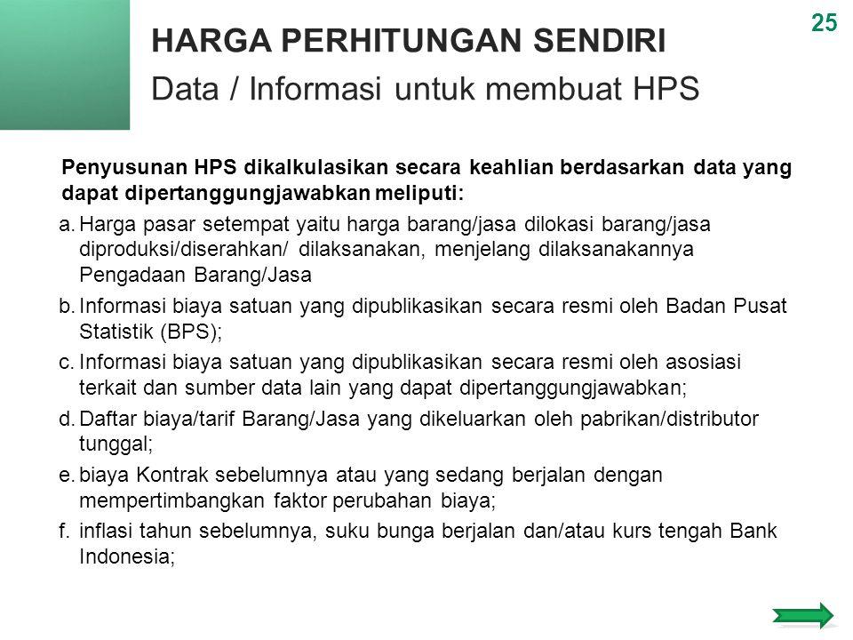 HARGA PERHITUNGAN SENDIRI Data / Informasi untuk membuat HPS