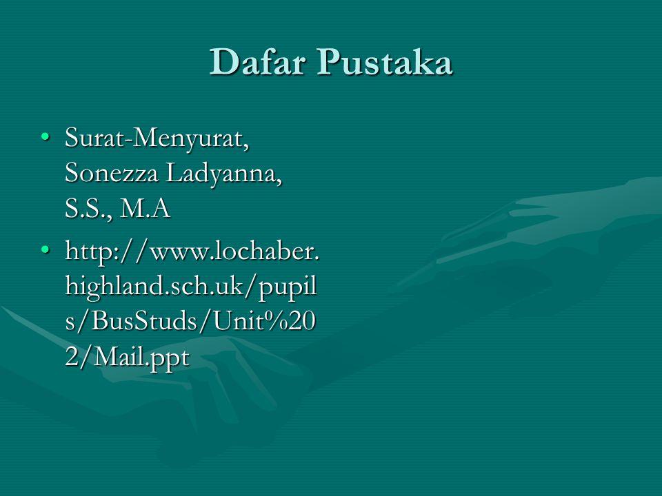 Dafar Pustaka Surat-Menyurat, Sonezza Ladyanna, S.S., M.A