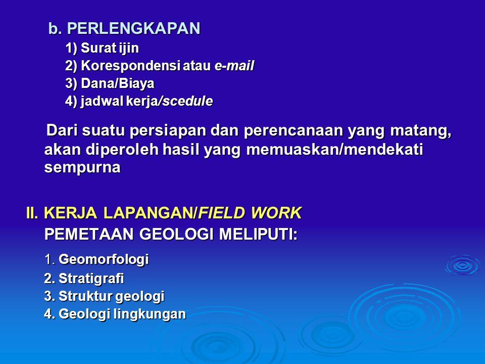 b. PERLENGKAPAN 1) Surat ijin. 2) Korespondensi atau e-mail. 3) Dana/Biaya. 4) jadwal kerja/scedule.