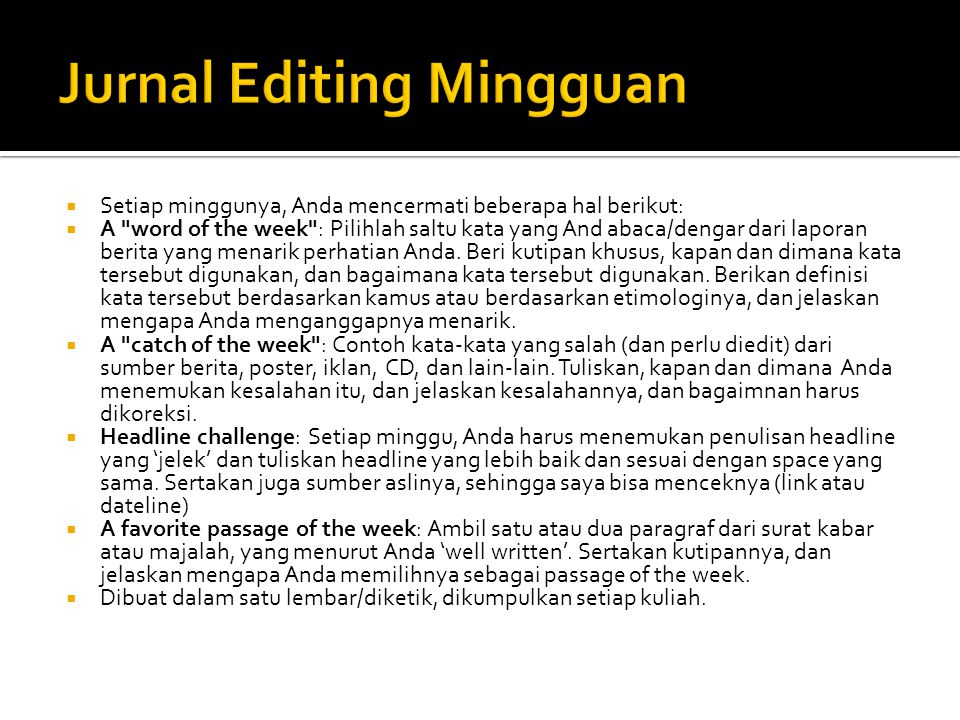 Jurnal Editing Mingguan