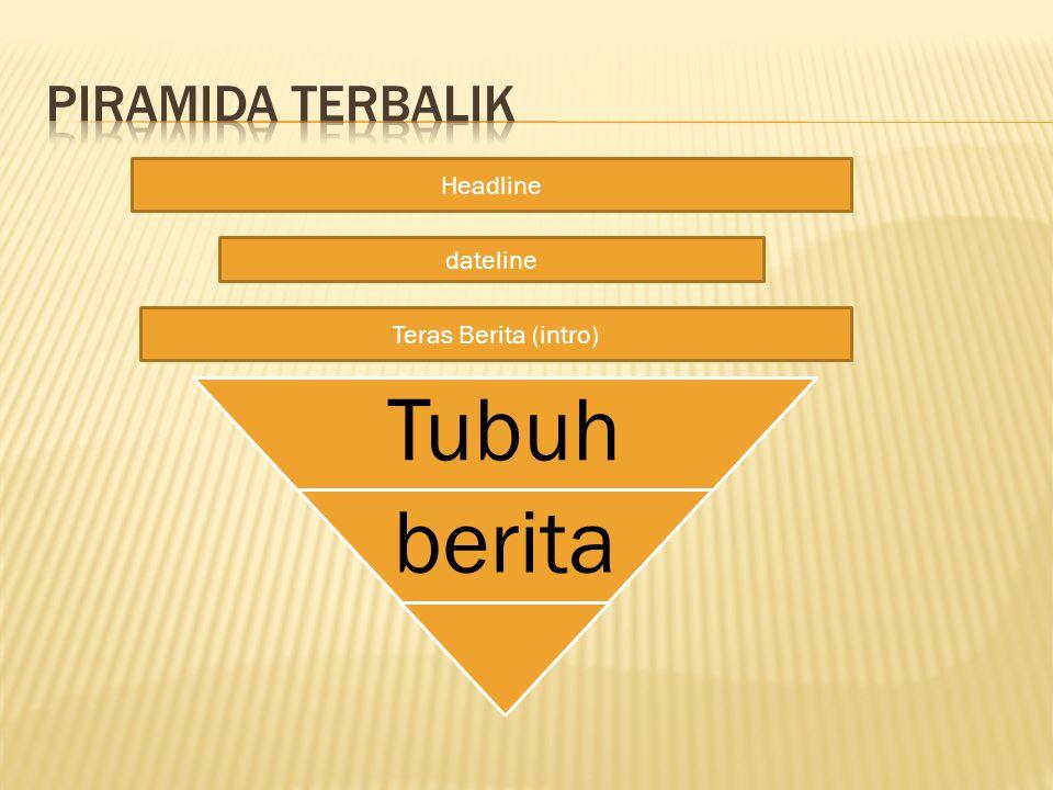Piramida Terbalik Headline dateline Teras Berita (intro) Tubuh berita