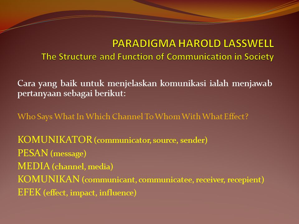 PARADIGMA HAROLD LASSWELL The Structure and Function of Communication in Society