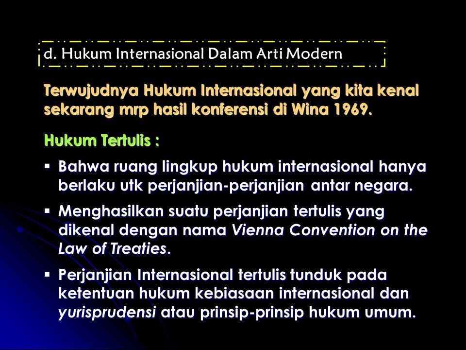 Hukum Internasional Dalam Arti Modern