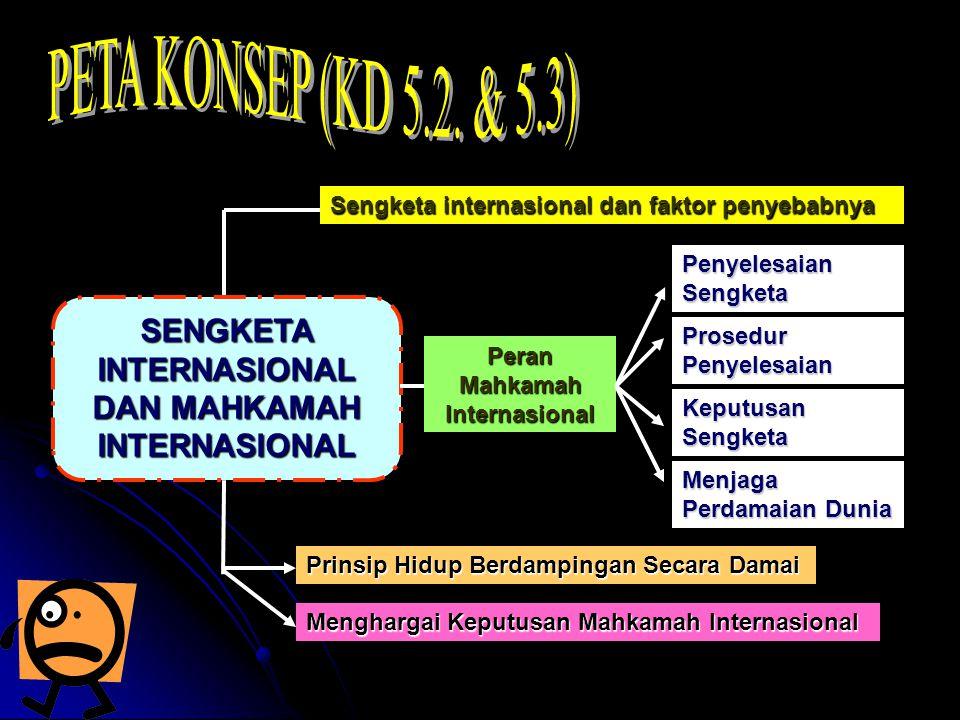 PETA KONSEP (KD 5.2. & 5.3) Sengketa internasional dan faktor penyebabnya. Penyelesaian Sengketa. SENGKETA INTERNASIONAL DAN MAHKAMAH INTERNASIONAL.