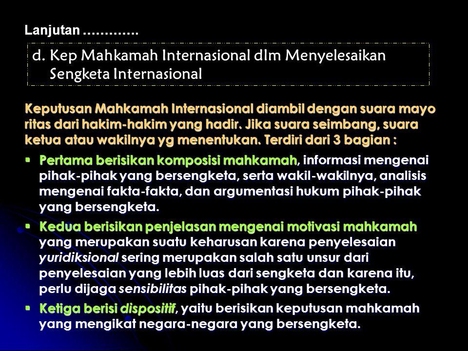Kep Mahkamah Internasional dlm Menyelesaikan Sengketa Internasional