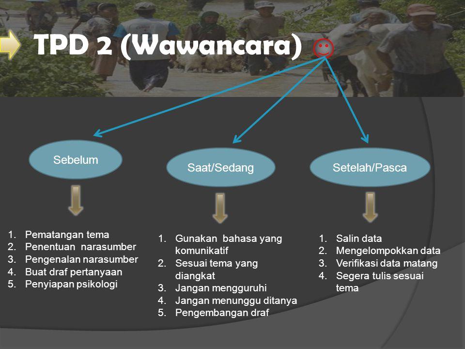 TPD 2 (Wawancara) Sebelum Saat/Sedang Setelah/Pasca Pematangan tema