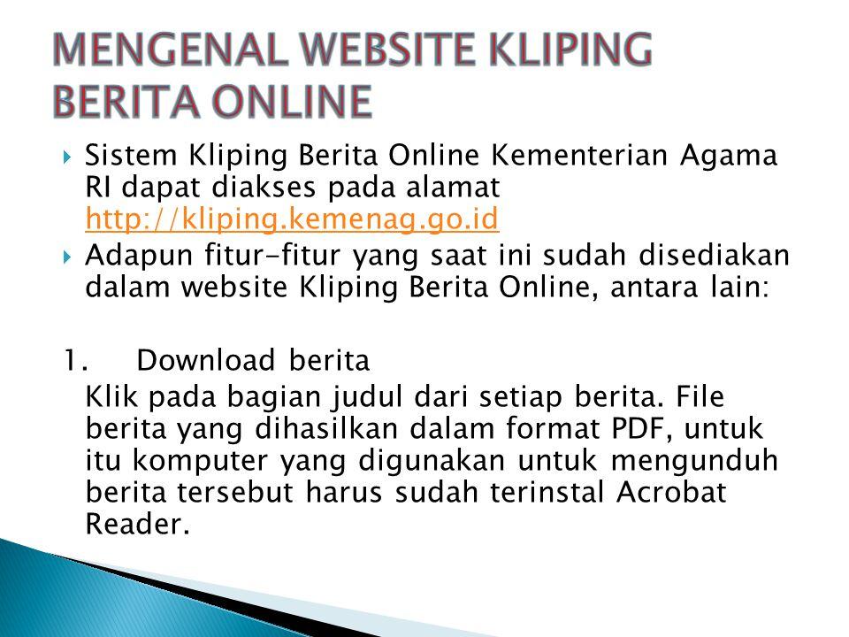 MENGENAL WEBSITE KLIPING BERITA ONLINE