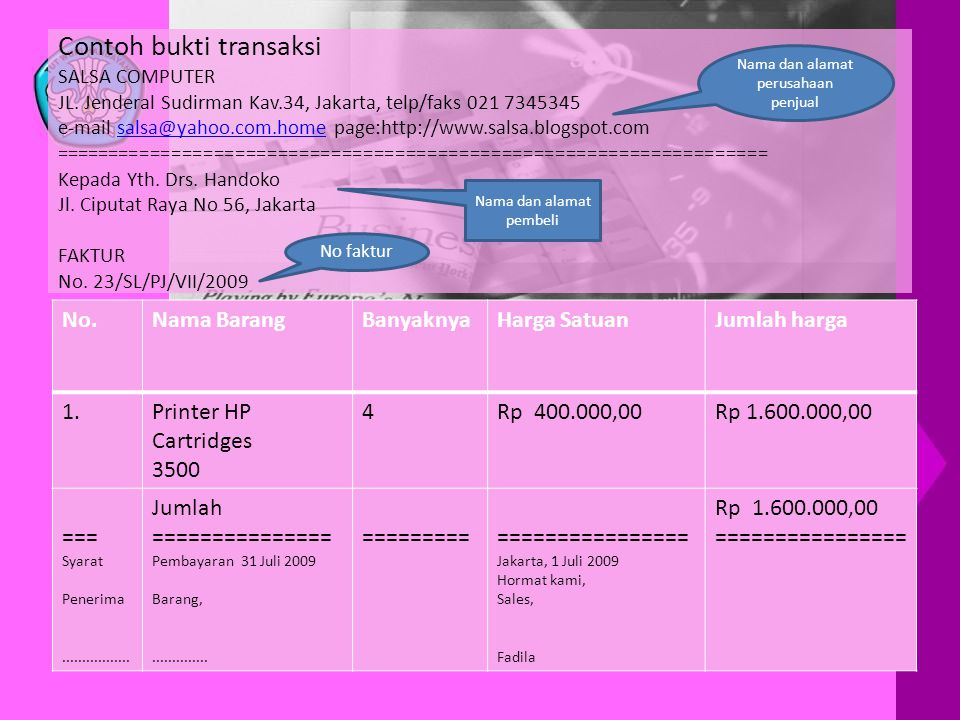 Contoh bukti transaksi SALSA COMPUTER JL. Jenderal Sudirman Kav
