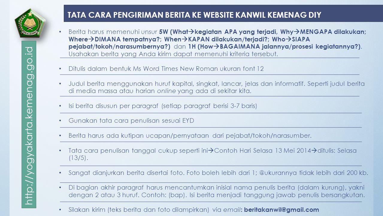 TATA CARA PENGIRIMAN BERITA KE WEBSITE KANWIL KEMENAG DIY