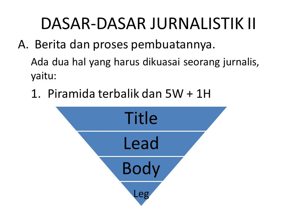 DASAR-DASAR JURNALISTIK II