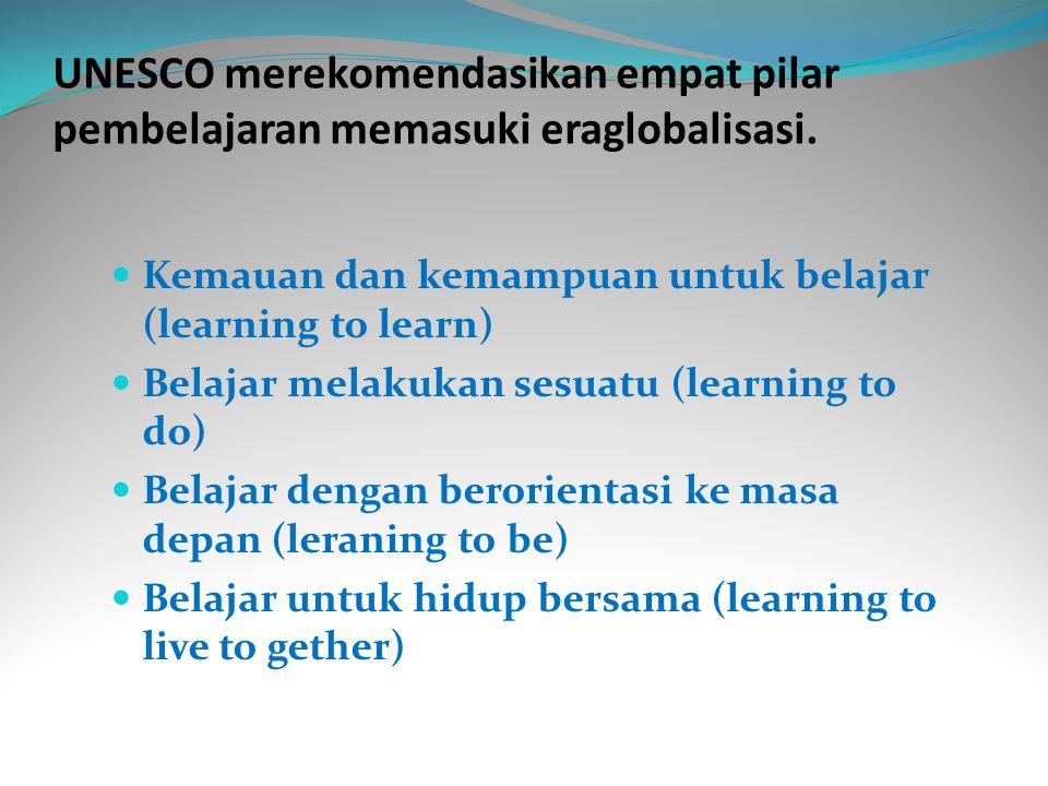 UNESCO merekomendasikan empat pilar pembelajaran memasuki eraglobalisasi.