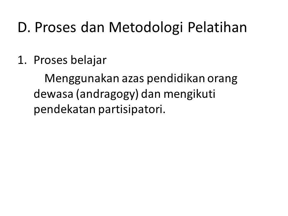 D. Proses dan Metodologi Pelatihan
